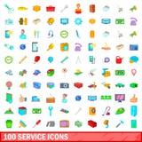 100 icônes de service réglées, style de bande dessinée illustration de vecteur