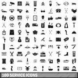 100 icônes de service réglées, style simple illustration de vecteur
