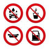 Icônes de services d'essence ou de station service Machine propre de Washington de véhicule, lavage de voiture avec l'éponge et b Photographie stock libre de droits
