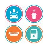 Icônes de services d'essence ou de station service Machine propre de Washington de véhicule, lavage de voiture avec l'éponge et b Image libre de droits
