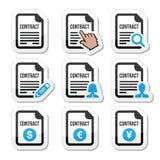 Icônes de signature de contrat d'affaires ou de travail réglées Image stock