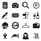 Icônes de silhouette d'hôtel Photos stock