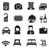 Icônes de silhouette d'hôtel réglées Photo stock