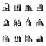 Icônes de silhouette de bâtiment Photo stock