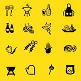 Icônes de silhouette de jaune de gril de barbecue Photographie stock