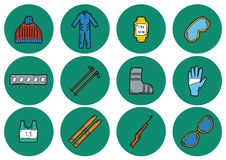 Icônes de ski images libres de droits