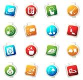 Icônes de société de nettoyage réglées Photos stock