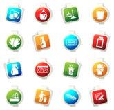 Icônes de société de nettoyage réglées Images stock