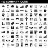 100 icônes de société réglées, style simple Images stock