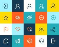 Icônes de Social et de communication. Plat illustration stock