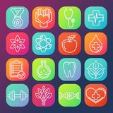 Icônes de soins de santé et de forme physique de vecteur Photo libre de droits