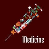 Icônes de soins de santé formées par seringue ou de médecine Photos libres de droits