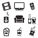 Icônes de soirée cinéma Photos stock