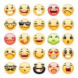 Icônes de sourire d'expression du visage de bande dessinée réglées Photos libres de droits