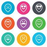 Icônes de sourire Lunettes de soleil, moustache et rire Photo libre de droits