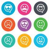Icônes de sourire Lunettes de soleil, moustache et rire Photos stock