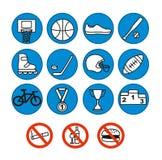Icônes de sport réglées, illustration Équipement de sport Illustration Libre de Droits