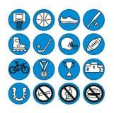Icônes de sport réglées, illustration Équipement de sport Illustration Stock