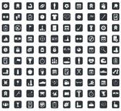 100 icônes de sport réglées, place, noire illustration stock
