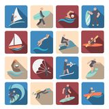 Icônes de sports aquatiques réglées colorées Photo libre de droits