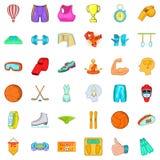 Icônes de sports d'Active réglées, style de bande dessinée Images stock