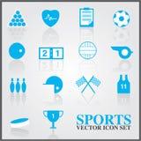 Icônes de sports réglées sur la couleur bleue Images stock