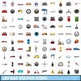 100 icônes de station service réglées, style de bande dessinée illustration libre de droits