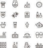 Icônes de station thermale et de bien-être Images stock