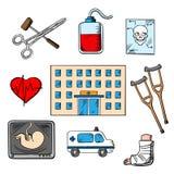 Icônes de style de croquis d'hôpital et de médecine Photo stock