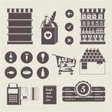 Icônes de supermarché Photographie stock libre de droits