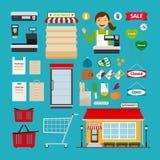 Icônes de supermarché Photos stock