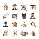 Icônes de surveillance et de sécurité réglées illustration de vecteur