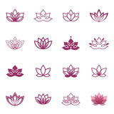 Icônes de symbole de Lotus Labels floraux de vecteur pour l'industrie de bien-être Images libres de droits