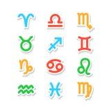 Icônes de symbole de zodiaque sur le blanc Photographie stock libre de droits