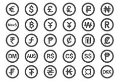 Icônes de symbole monétaire illustration libre de droits