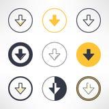 Icônes de téléchargement réglées dans la conception différente Nettoyez et Photo stock