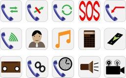 Icônes de téléphone de différent beau Photos stock