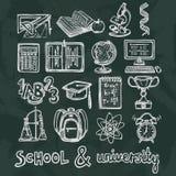 Icônes de tableau d'éducation d'école Photo libre de droits