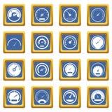 Icônes de tachymètre réglées bleues Photographie stock