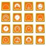 Icônes de tachymètre réglées oranges Photographie stock libre de droits