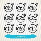 Icônes de technologie de nuage Image stock