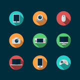Icônes de technologie et de dispositifs réglées Photographie stock