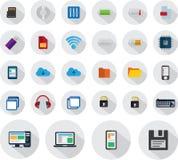 Icônes de technologie réglées en rond Images libres de droits