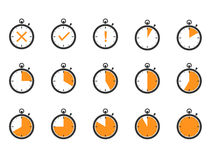 Icônes de temps de chronomètre Photos stock