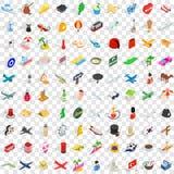 100 icônes de temps de déplacement ont placé, le style 3d isométrique illustration stock