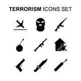 Icônes de terrorisme réglées Illustration de vecteur Photos libres de droits