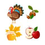 Icônes de thanksgiving réglées illustration stock