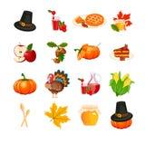 Icônes de thanksgiving réglées illustration de vecteur