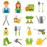 Icônes de Tools Accessories Flat de jardinier réglées Photographie stock libre de droits