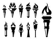 Icônes de torche réglées Photo stock